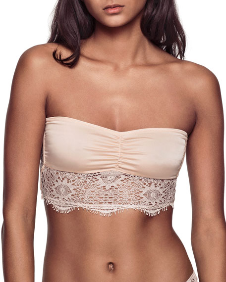 Stretch-Lace & Silk Bandeau Bra
