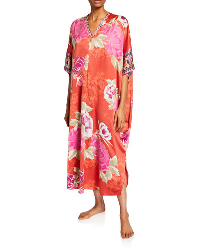 Fusion Floral Zip-Front Satin Caftan