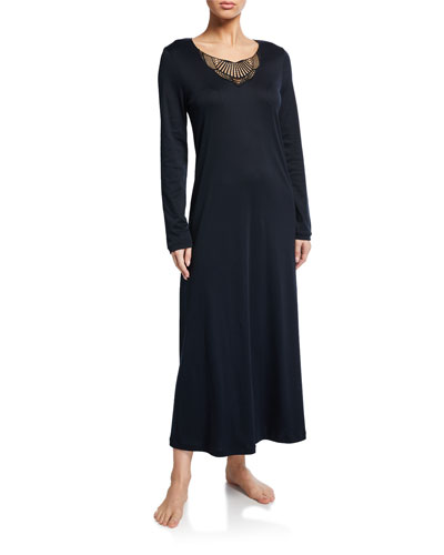Adina Lace-Inset Long Nightgown