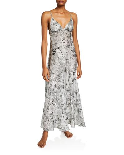 Arabella Floral-Print Long Nightgown