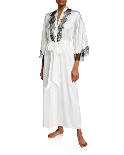 Arabella Lace-Trim Silk Robe