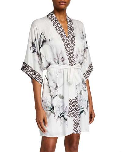 Serenity Floral-Print Short Robe
