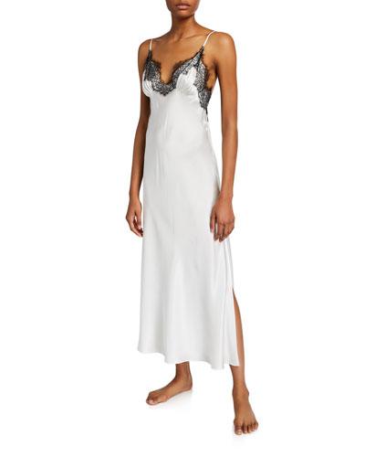 Arabella Lace-Trim Silk Nightgown