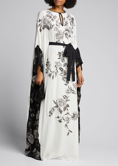 Floral-Beaded Caftan Gown