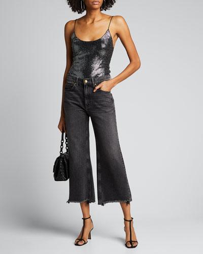 Emilia Metallic Spaghetti-Strap Bodysuit