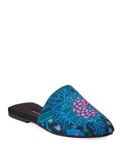 Empress Floral-Embroidered Mule Slippers