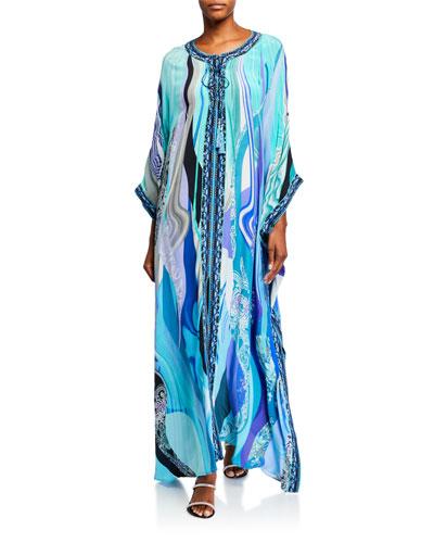 Embellished Long Lace-Up Kaftan