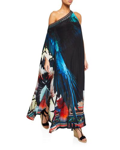 One-Shouldered Floral Silk Caftan