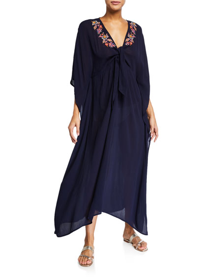 Image 1 of 1: Plus Size Golda Tie-Front Maxi Kaftan