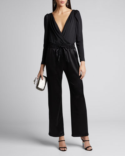 Michele Puff-Sleeve Stretch Silk Bodysuit