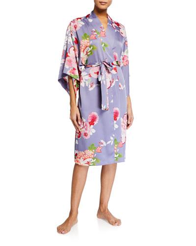 Winter Peony Floral-Print Robe