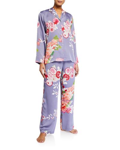 Winter Peony Floral Classic Pajama Set
