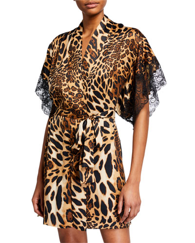 Luxe Leopard Lace-Print Robe