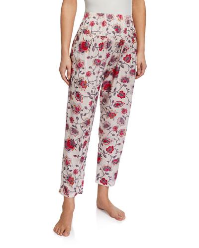 Peyton Floral-Print High-Waist Lounge Pants