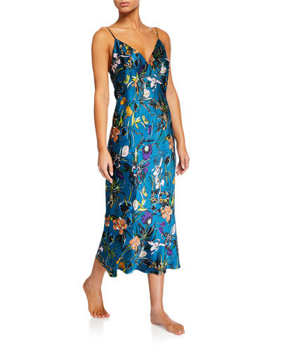 Issa Heaven Floral Silk Nightgown