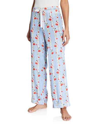 Chantal Floral Stripe Silk Pajama Pants