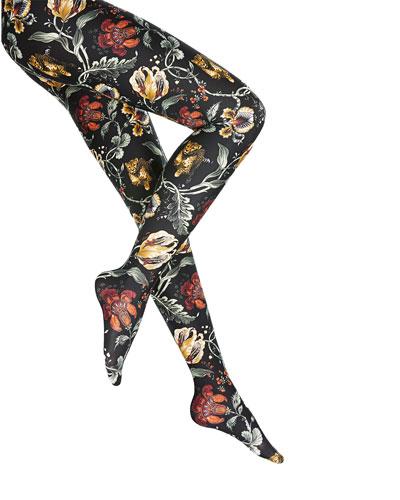 Jungle Floral Print Tights