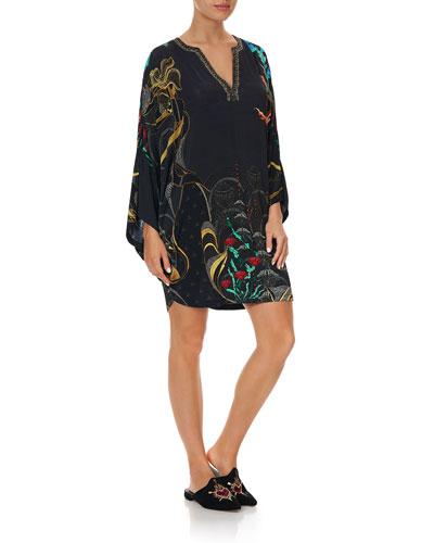 Floral Embroidered Jersey Short Kaftan