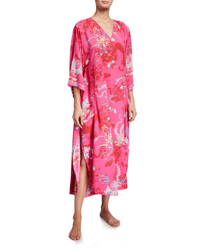 Plus Size Andalusia V-Neck Graphic Caftan