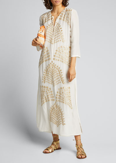 Celeste Luxe-Embroidered Silk Kaftan