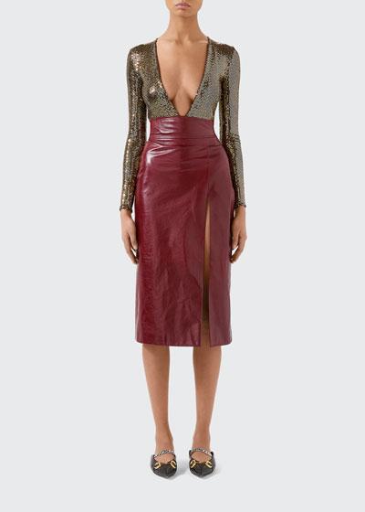 Metallic Jersey Deep V-neck Bodysuit
