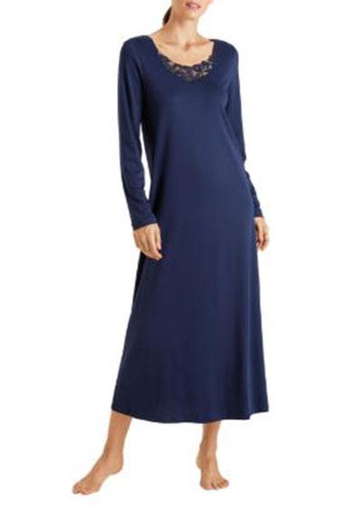 Najuma Lace-Yoke Long-Sleeve Nightgown