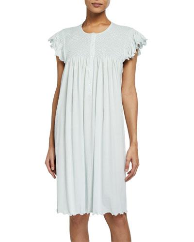 Heirloom Daisy Cap-Sleeve Jersey Nightgown
