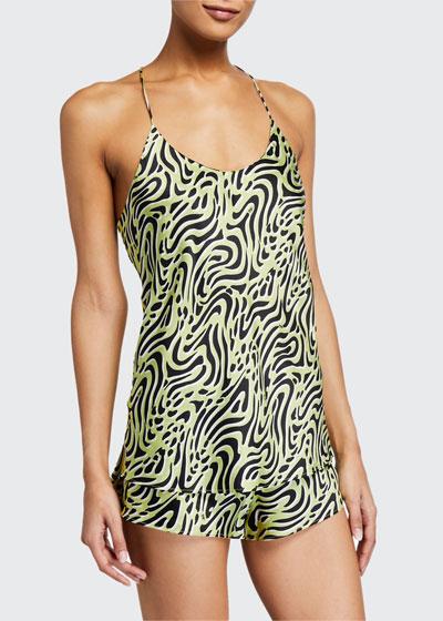 Bella Lime Silk Camisole Short Set