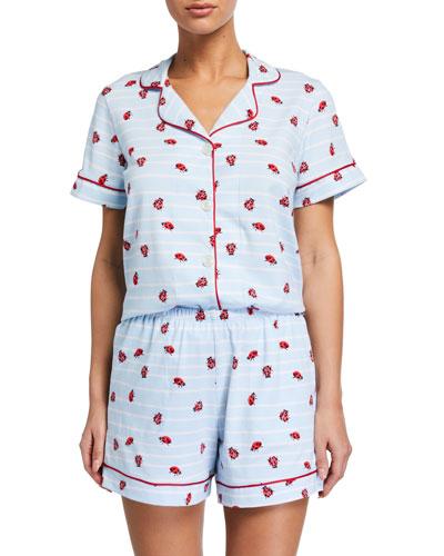 Ladybug Striped Shorty Pajama Set