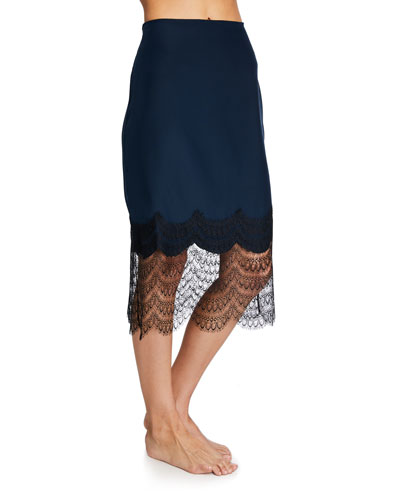 Charmeuse Skirt w/ Lace Trim