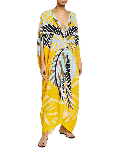 Leaf-Print Split-Sleeve Coverup Kaftan