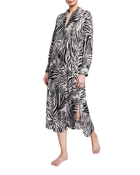 Image 1 of 1: Zebra Print Long-Sleeve Voile Lounger