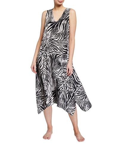 Zebra Print Sleeveless Voile Nightgown
