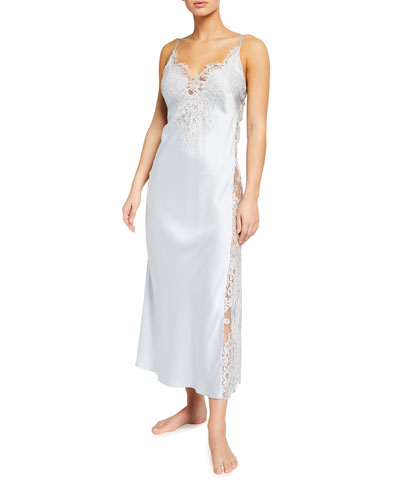 Lace-Trim Side Panel Long Satin Nightgown