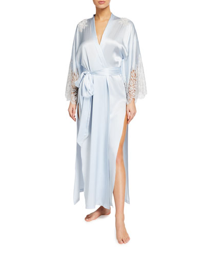 Silk Charmeuse Lace-Sleeve Long Robe