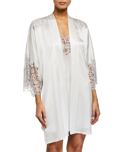 Lace-Trim Short Robe