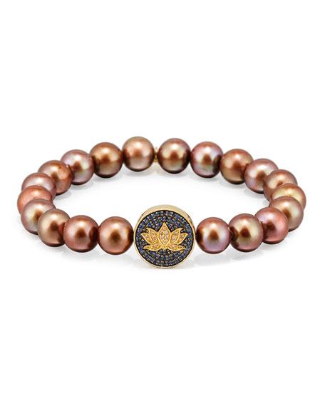 Sydney Evan Brown Potato Pearl Bracelet with Sapphire
