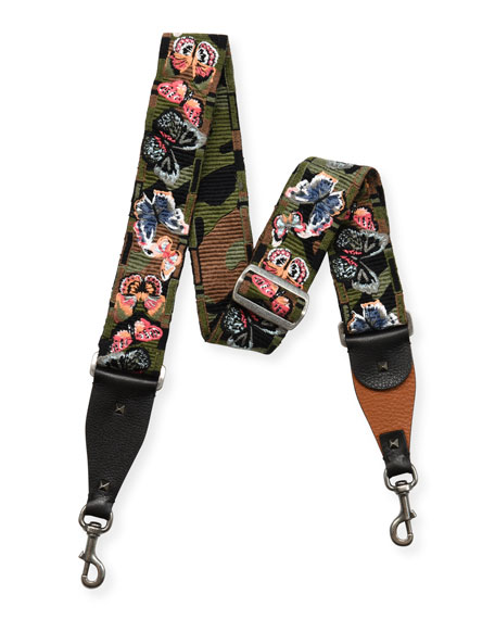 Butterfly-Embroidered Canvas Guitar Strap for Handbag