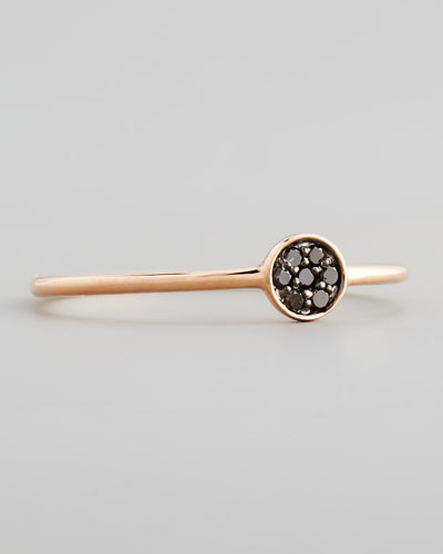 14k Rose Pave Black Diamond Disc Ring