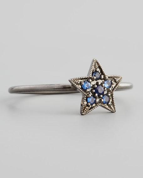 14k Black Pave Blue Sapphire Star Ring
