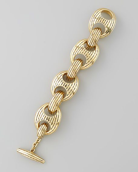 Ridged Circle Oval Link Bracelet