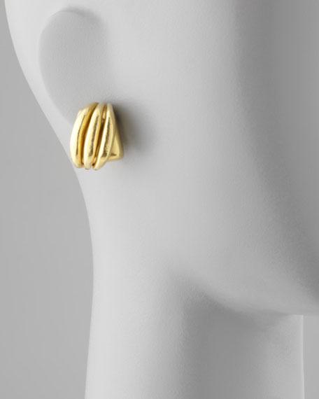 Green Gold-Plate Triple-Flute Button Clip-On Earrings