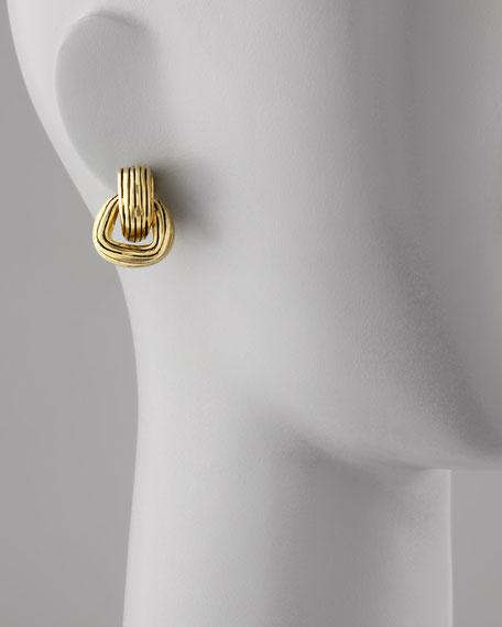 Green Gold-Plate Doorknocker Clip-On Earrings