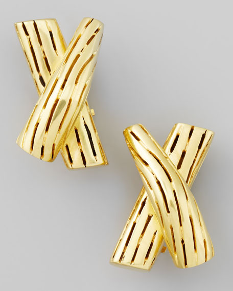 Green Gold-Plate X Clip-On Earrings