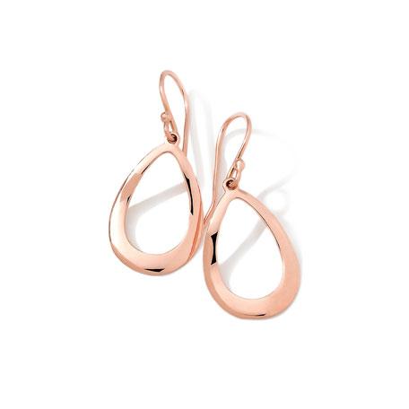 18k Rose Gold Smooth Open-Teardrop Earrings