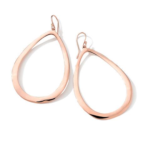 18k Rose Gold Large Smooth Open-Teardrop Earrings