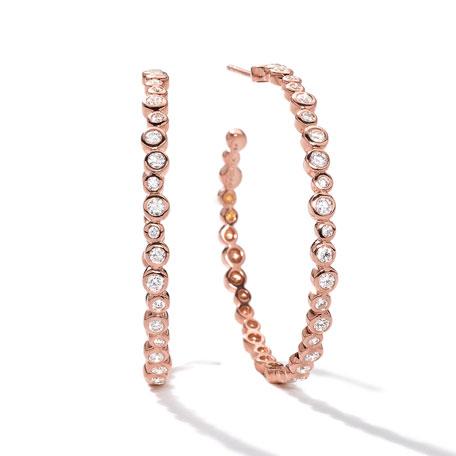 18k Rose Gold Starlet #3 Hoop Earrings in Diamonds
