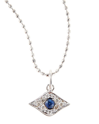 Baby Evil Eye Necklace with Diamonds and Sapphires, 14K White Gold