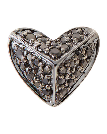 14K Pyramid Heart Single Stud Earring with Black Diamonds