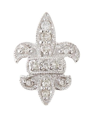 14K Fleur-de-Lis Single Stud Earring with Diamonds